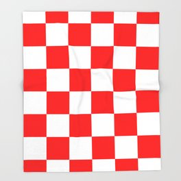 Large Checkered - White and Red Throw Blanket