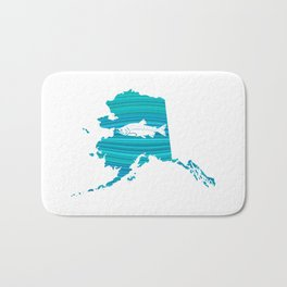 Alaska Wave Salmon Fishing Bath Mat