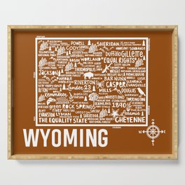 Wyoming Map  Serving Tray