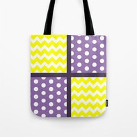 polkadot Tote Bags featuring Renamon Inspired Chevron/Polkadot by Ganene the Inkling