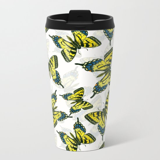 Tiger swallowtail butterfly watercolor pattern Metal Travel Mug