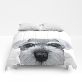 Schnauzer Grey&white, Dog illustration original painting print Comforters