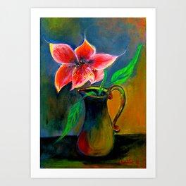 Amaryllis Flower in a vase Art Print