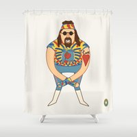 wrestling Shower Curtains featuring Dude Love - Pro Wrestling Illustration by donutglow