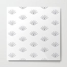 Grey Evil Eye Pattern Metal Print