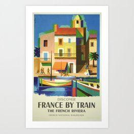Discover France by Train, The French Riviera, French National Railroads -Vintage Train Travel Poster Art Print