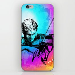 Violin player, violinist musician playing classical music. Music festival concert. iPhone Skin
