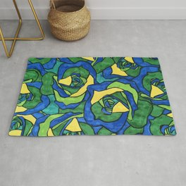 Blue and Green Roses Pattern Rug