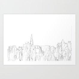 Galway, Ireland Skyline B&W - Thin Line Art Print