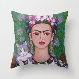 Frida cat lover closer Throw Pillow