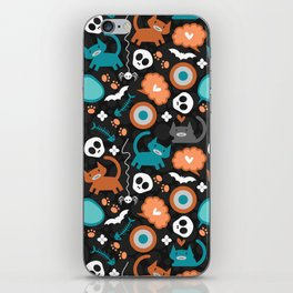 Funny Halloween pattern with kittens iPhone Skin