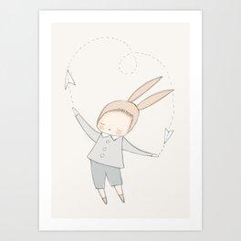 bunny boy paper planes cream Art Print