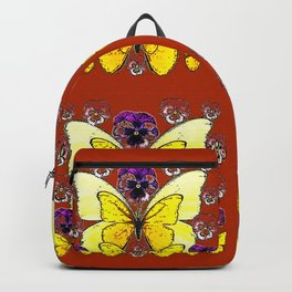 RUST COLORED YELLOW  BUTTERFLY & PANSY FLORAL Backpack