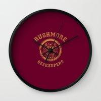 rushmore Wall Clocks featuring Rushmore Beekeepers Society by steeeeee