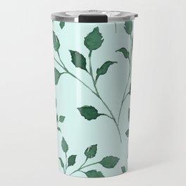 Light Cyan Soft Mint Green Leaves Greenery Pattern Modern Décor Travel Mug