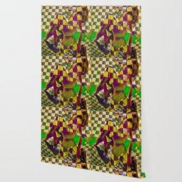 6097-KMA Checkerboard Nude Sitting on Mirror Wallpaper