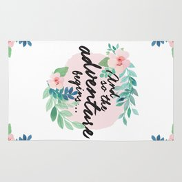 Adventure Begins, watercolor floral quote Rug