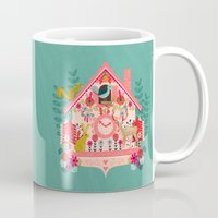 valentines Mugs featuring I'm Cuckoo For You - Valentines Cuckoo Clock  by Andrea Lauren Design