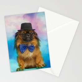 Cute Pekingese dog with bow tie and hat Stationery Cards