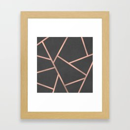 Dark Grey and Rose Gold Textured Fragments - Geometric Design Framed Art Print