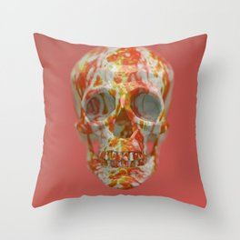 Red Candy Skull Throw Pillow