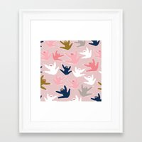 sloths Framed Art Prints featuring Pattern with sloths by Darish