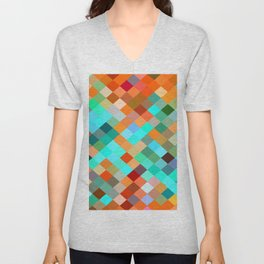 geometric square pixel pattern abstract in blue orange yellow brown green Unisex V-Neck