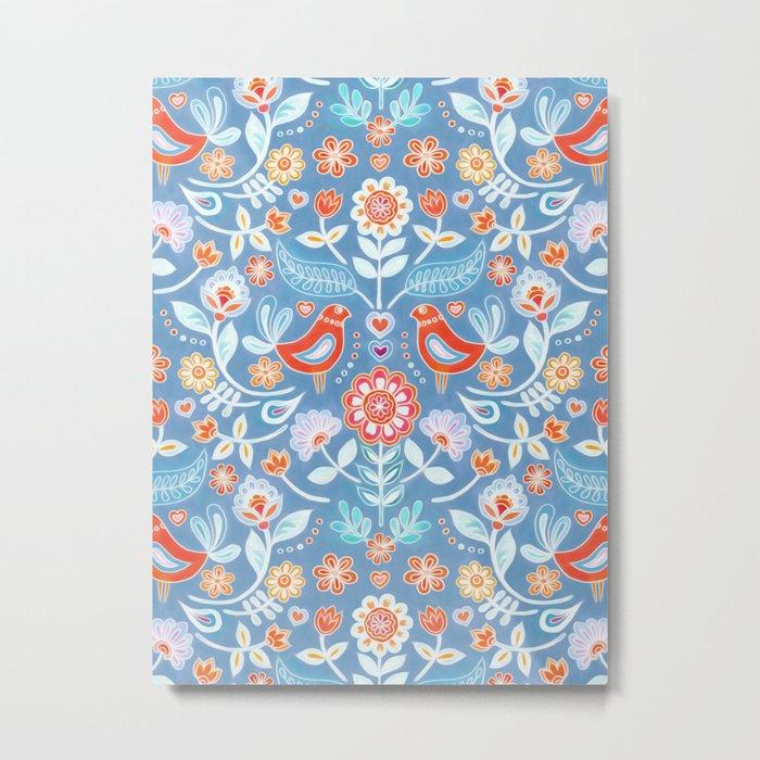 Happy Folk Summer Floral on Light Blue Metal Print