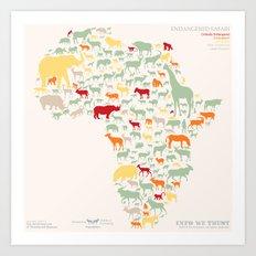Endangered Safari - without animal names Art Print
