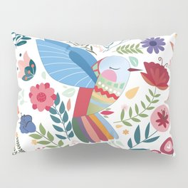Folk Art Inspired Hummingbird In A Burst Of Springtime Blossoms Pillow Sham