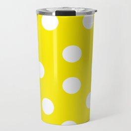 Polka Dots - Aureolin and White Travel Mug