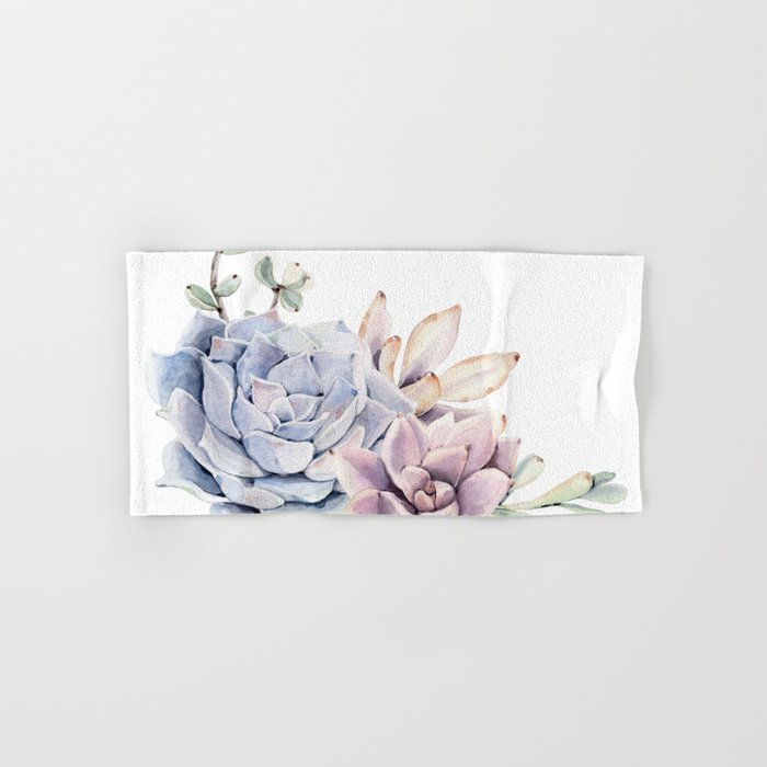 Pristine Succulents Blue and Pink Hand & Bath Towel
