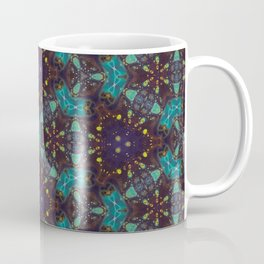 Navy Turquoise Geometric Mosaic - Abstract Art by Fluid Nature Coffee Mug