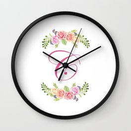 Floral Initial Letter C Wall Clock