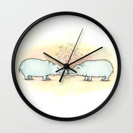 Hippo Love Wall Clock