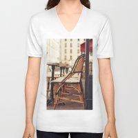 cafe V-neck T-shirts featuring Paris Cafe by Nina's clicks