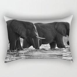 Elephants (Black and White) Rectangular Pillow