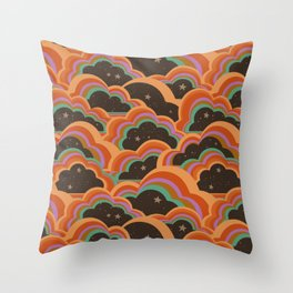 Retro 70s Inspired Boho Rainbow Clouds Pattern Throw Pillow