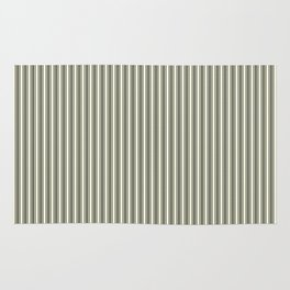 Trendy French Beige Mattress Ticking Black Double Stripes Rug