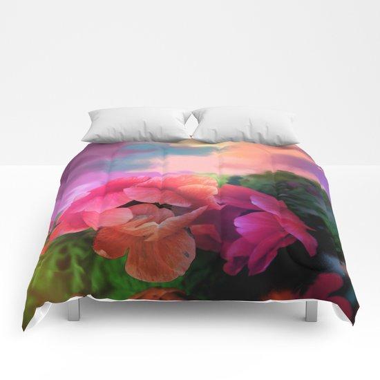 Summer garden with Anemones Comforters