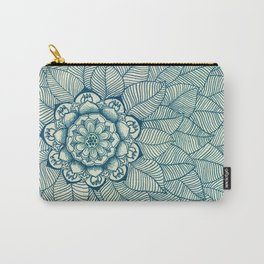 Emerald Green, Navy & Cream Floral & Leaf doodle Carry-All Pouch