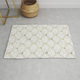 marble and gold art deco scales pattern Rug