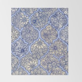 Moroccan Floral Lattice Arrangement - Purple Throw Blanket