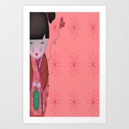 Little Geisha Pink Art Print
