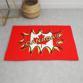 Canadian Flag Comic Style Starburst Rug