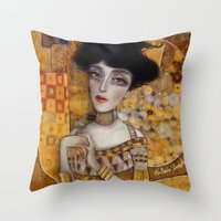 klimt Throw Pillows featuring klimt by Antonio Lorente
