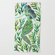 Kelp Forest Mermaid – Green Palette Beach Towel
