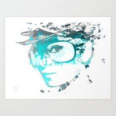 Audrey splash Cool Blue Art Print