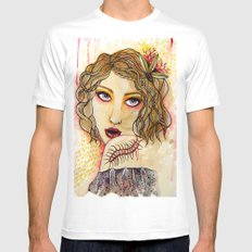 Cecilia and the Centipede White SMALL Mens Fitted Tee