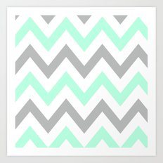 MINT & GRAY CHEVRON Art Print